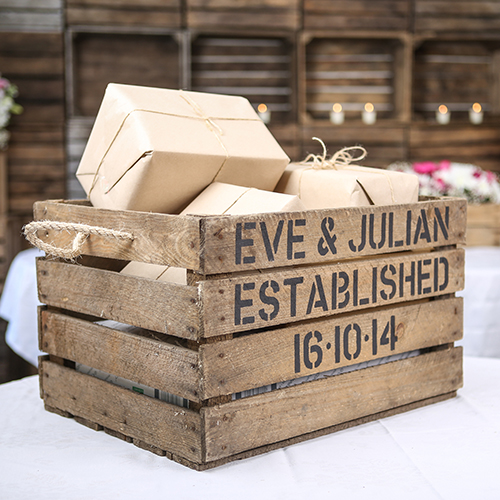 Personalised Bride & Groom Stencil Crate + Rope Handle